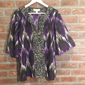 Michael Kors purple print blouse XL